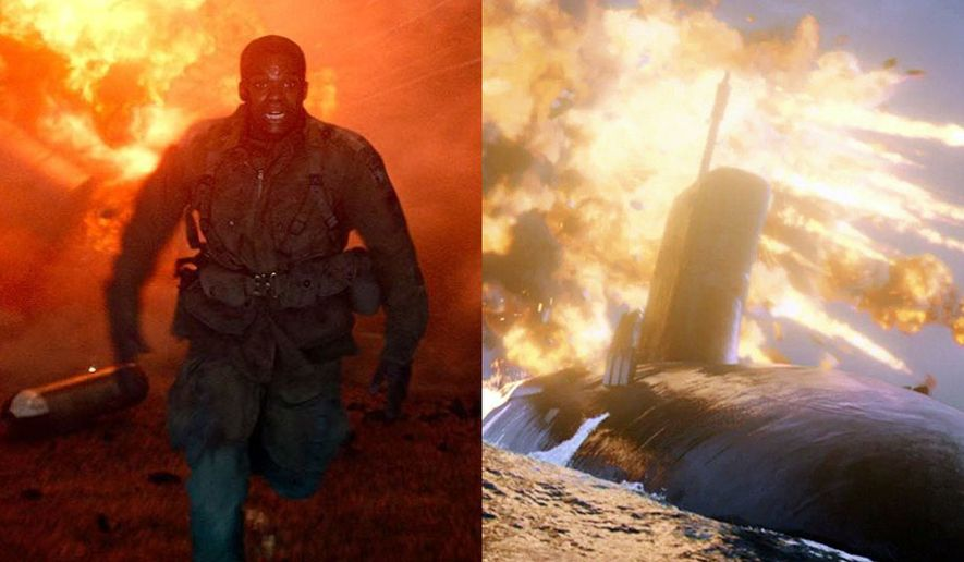 """An American soldier dodges a fireball in """"Overlord"""" and a submarine survives a missile attack in """"Hunter Killer,"""" now available on 4K Ultra HD."""