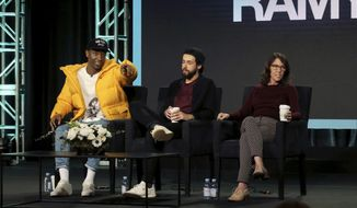"""FILE - In this Feb. 11, 2019 file photo, Jerrod Carmichael, from left, Ramy Youssef and Bridget Bedard participate in the """"Ramy"""" panel during the Hulu presentation at the Television Critics Association Winter Press Tour in Pasadena, Calif. Carmichael lamented what he called the """"terrible"""" state of TV comedy, asked his audience if they'd seen some of it.  (Photo by Willy Sanjuan/Invision/AP, File)"""