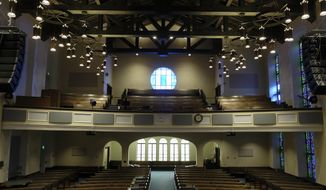 This Tuesday, Feb. 12, 2019 photo shows the sanctuary at the Glide Memorial United Methodist Church in San Francisco. The United Methodist Church convenes its top legislative assembly Saturday, Feb. 23, 2019, for a high-stakes four-day meeting likely to determine whether America's second-largest Protestant denomination will fracture due to long-simmering divisions over same-sex marriage and the ordination of LGBT clergy. (AP Photo/Eric Risberg)