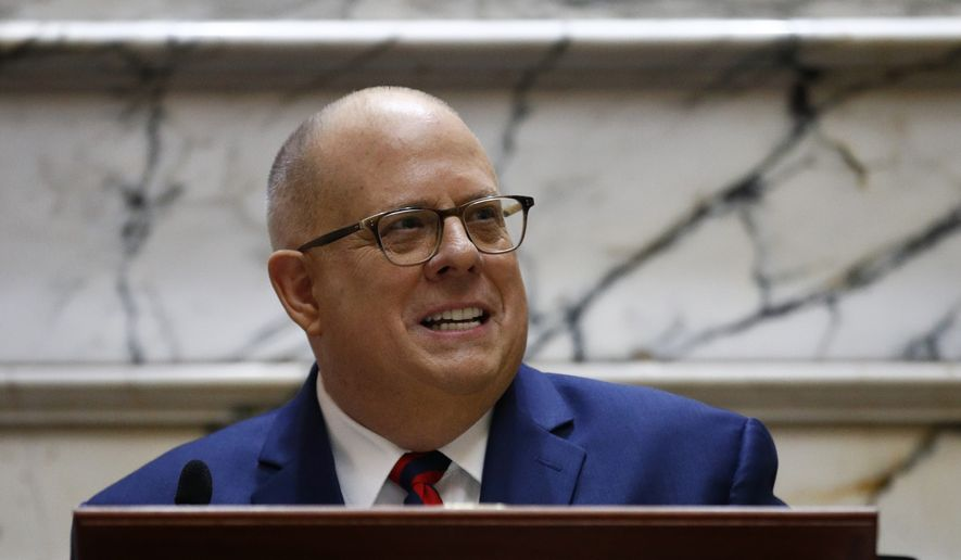 In this Jan. 30, 2019, file photo Maryland Gov. Larry Hogan delivers his annual State of the State address to a joint session of the legislature in Annapolis, Md. (AP Photo/Patrick Semansky, File) ** FILE **