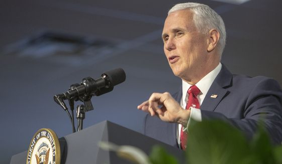 """Vice President Mike Pence delivers a speech during a visit to The Meeting Place Church, a designated """"Opportunity Zone,"""" with second lady Karen Pence and U.S. Sen. Tim Scott, R-S.C, Thursday, Feb. 21, 2019, in Columbia, S.C. (Gavin McIntyre/The State via AP, Pool) ** FILE **"""