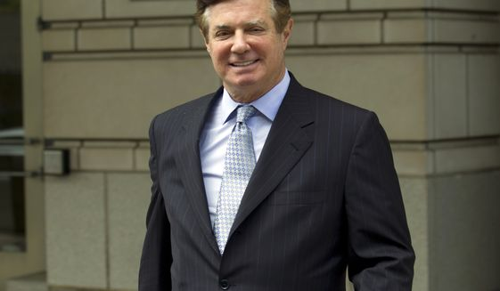 In this May 23, 2018 file photo, Paul Manafort, President Donald Trump's former campaign chairman, leaves the Federal District Court after a hearing in Washington. A judge has set a March 8, 2019, sentencing date for Manafort on his Virginia conviction for hiding millions of dollars from the IRS that he earned advising Ukrainian politicians. The order issued Thursday, Feb. 21 by U.S. District Judge T.S. Ellis III means Manafort will face sentencing in Virginia before he does in the District of Columbia. His sentencing in the District has already been set for March 13. (AP Photo/Jose Luis Magana, File)