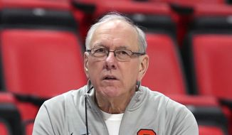 In this March 15, 2018, file photo, Syracuse head coach Jim Boeheim watches during a practice for an NCAA men's college basketball tournament first-round game, in Detroit. Police say Syracuse men's basketball coach Jim Boeheim struck and killed a 51-year-old man walking outside his vehicle on a highway near Syracuse, N.Y., Wednesday, Feb. 20, 2019. (AP Photo/Carlos Osorio, File)