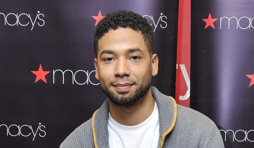 In this Nov. 14, 2015, file photo, Jussie Smollett is shown at Macy's Lenox Square during the Sean John 2015 Fall Holiday event in Atlanta. The 36-year-old actor was charged Wednesday with making a false police report when he told authorities he was attacked last month in Chicago by two men who hurled racist, anti-gay slurs and looped a rope around his neck. (John Amis/AP Images for Macy's) ** FILE **