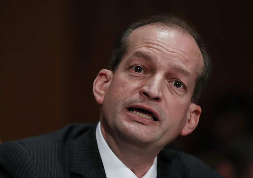In this March 22, 2017, photo, then-Labor Secretary-designate Alex Acosta testifies on Capitol Hill in Washington. (Associated Press) **FILE**