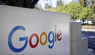 This Oct. 20, 2015, file photo, shows signage outside Google headquarters in Mountain View, Calif. (AP Photo/Marcio Jose Sanchez, File)