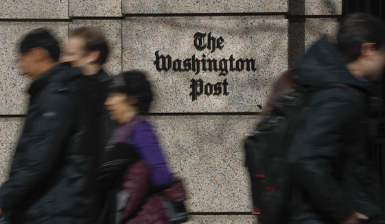 The One Franklin Square Building, home of The Washington Post newspaper, in downtown Washington, Thursday, Feb. 21, 2019. (AP Photo/Pablo Martinez Monsivais) **FILE**
