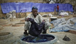 In this photo taken Tuesday, Feb. 19, 2019, a craftsman dyes cloth with indigo in one of the ancient dye pits of Kofar Mata in Kano, northern Nigeria. The dye pits were founded in 1498 and are said to be the last ones of their kind but some of the craftsmen grumble about competition from Chinese fabrics that have entered the markets and sell for half the price. (AP Photo/Ben Curtis)