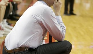 Nebraska coach Tim Miles follows the first half of an NCAA college basketball game against Northwestern in Lincoln, Neb., Saturday, Feb. 16, 2019. (AP Photo/Nati Harnik)