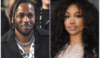 """This combination photo shows musician Kendrick Lamar, left, and Solana Rowe, better known as SZA, who, along with Mark Spears and Anthony Tiffith, were nominated for an Oscar for best original song for """"All the Stars,"""" from the film """"Black Panther.""""  Alexander Shuckburgh, who is also credited with writing the song, is not included in the Oscar nomination because the Academy of Motion Picture Arts and Sciences limits the number of nominees in the best original song category to four names. (AP Photo)"""