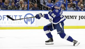 Tampa Bay Lightning right wing Nikita Kucherov (86), of Russia, shoots past Buffalo Sabres goaltender Carter Hutton for a goal during the second period of an NHL hockey game Thursday, Feb. 21, 2019, in Tampa, Fla. (AP Photo/Chris O'Meara)