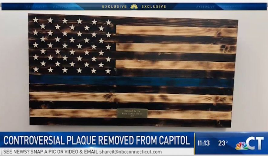 "A ""thin blue line"" flag meant to honor law enforcement was removed from the Connecticut State Capitol this week after Democrats complained it might offend Black Lives Matter supporters. (NBC Connecticut)"