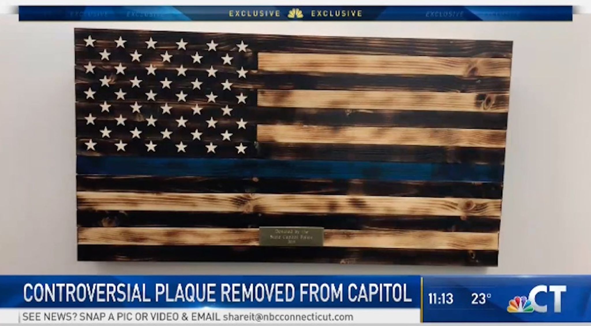 'Thin blue line' flag honoring police removed from Connecticut State Capitol after Dems complain