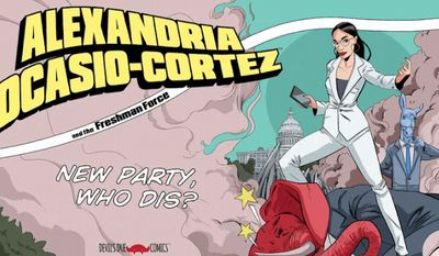 "Devil's Due Comics, a North American publisher, announced Friday it will release a one-time comic book ""Alexandria Ocasio-Cortez and the Freshman Force"" in May. (Image courtesy of Devil's Due Comics)"