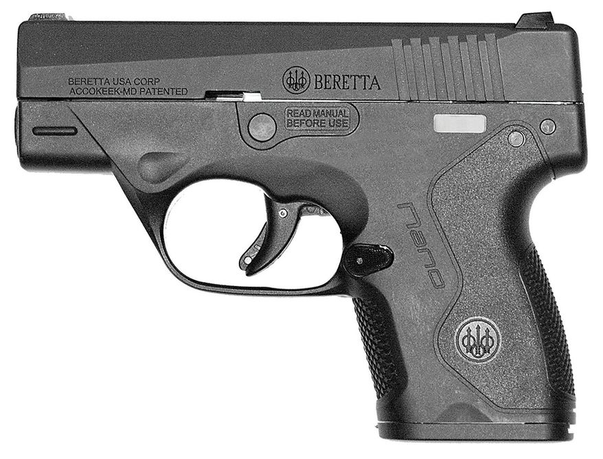 BERETTA NANO 9mm - The Nano was designed with one goal in mind: creating the ideal micro-compact pistol for concealed carry and personal defense. With a thin, snag-free profile, the Nano effortlessly glides in and out of yourholster. The Nano can be easily modified with differentgrip-framesto accommodate your preferences and even a number ofaccessories like laser sights and an optional 8+1 extendedmagazine.