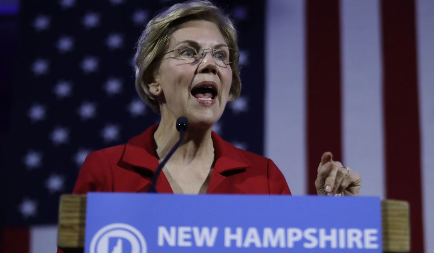 Democratic presidential candidate Sen. Elizabeth Warren, D-Mass., speaks at the New Hampshire Democratic Party's 60th Annual McIntyre-Shaheen 100 Club Dinner, Friday, Feb. 22, 2019, in Manchester, N.H. (AP Photo/Elise Amendola)