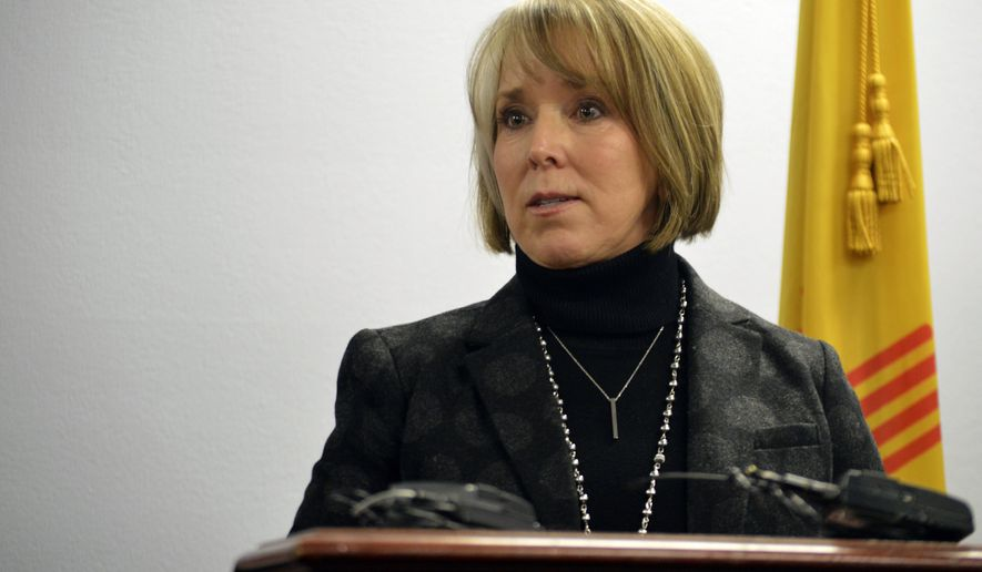 FILE - In this Monday, Jan 7, 2019, file photo, Gov. Michelle Lujan Grisham speaks at a news conference in Albuquerque, N.M. Grisham has chosen an Albuquerque attorney to fill a vacancy on the bench that serves New Mexico's busiest judicial district. Erin O'Connell will fill the seat left open by the retirement of Judge Nan Nash, who served as the 2nd District's chief judge before stepping down. (AP Photo/Russell Contreras, File)