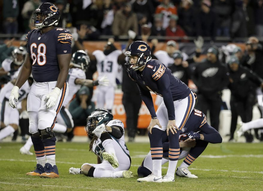 FILE - In this Jan. 6, 2019, file photo, Chicago Bears kicker Cody Parkey (1) reacts after missing a field goal in the closing minute of the team's NFL wild-card playoff football game against the Philadelphia Eagles in Chicago. A person familiar with the situation says the Bears have decided to release embattled kicker Parkey after one season. The person spoke Friday, Feb. 22, 2019, on the condition of anonymity because the move had not been announced. Signed to a four-year contract in March, Parkey made just 23 of 30 field goals during the regular season for the third-lowest conversion rate in the NFL. He was 42 of 45 on extra points. (AP Photo/Nam Y. Huh, File)