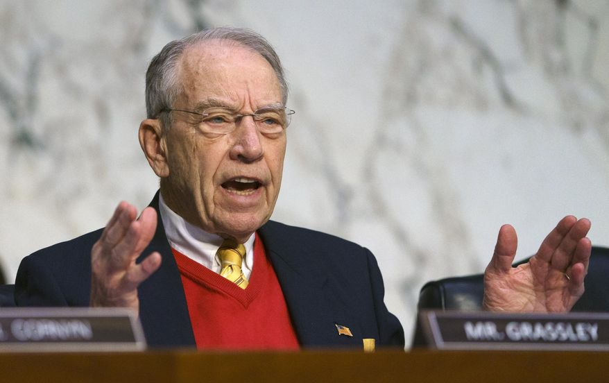 In this Jan. 15, 2019, file photo, Senate Judiciary Committee committee member Sen. Chuck Grassley, R-Iowa, asks questions during a Senate Judiciary Committee on Capitol Hill in Washington. (AP Photo/Carolyn Kaster) ** FILE **