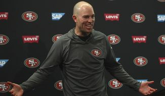 FILE - In this Dec. 16, 2018, file photo, San Francisco 49ers kicker Robbie Gould speaks at a news conference after an NFL football game against the Seattle Seahawks, in Santa Clara, Calif. The Chicago Bears would like to upgrade at kicker and Robbie Gould figures to hit the free agent market. The idea of bringing back the franchise's all-time scoring leader sure is a tantalizing one for Chicago fans, particularly in the wake of Cody Parkey's struggles. (AP Photo/Ben Margot, File)