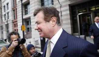 FILE- In this April 19, 2018, file photo Paul Manafort departs Federal District Court after a hearing in Washington. Prosecutors in New York City are building a potential criminal case against Manafort, as he awaits sentencing on federal conspiracy and fraud convictions, according to reports published Friday, Feb. 22, 2019. (AP Photo/Alex Brandon, File)