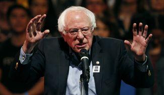 In this Thursday, Oct. 25, 2018 file photo, Sen. Bernie Sanders, I-Vt., speaks at a rally in Las Vegas. (AP Photo/John Locher)