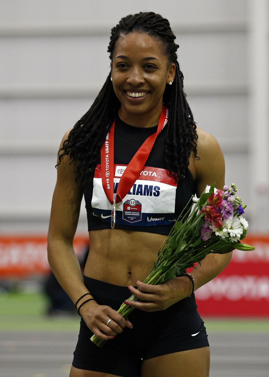 Kendell Williams smiles after winning the pentathlon during the USA Track & Field Indoor Championships on Friday, Feb. 22, 2019, in New York. (AP Photo/Adam Hunger)