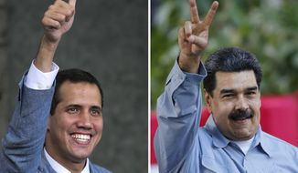 This photo combo of file photos shows opposition leader and self-proclaimed interim president of Venezuela Juan Guaido, left, on Feb. 8, 2019 and Venezuela's President Nicolas Maduro, on Feb. 7, 2019, both in Caracas, Venezuela. Dueling concerts will literally set the stage for a showdown on Friday, Feb. 22, 2019, between Venezuela's government and an opposition vowing to draw masses of people to push humanitarian aid into Venezuela despite Maduro's objections. (AP Photos/Ariana Cubillos)