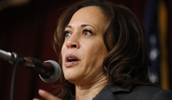 Democratic presidential candidate Kamala D. Harris she would back decriminalization as long as safeguards remain in place to protect sex workers against exploitation by human traffickers and pimps. (Associated Press/File)