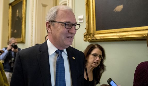 In this Jan. 25, 2019, file photo, Sen. Kevin Cramer, R-N.D., speaks to reporters as he walks into a closed-door meeting with Senate Republicans on Capitol Hill in Washington. (AP Photo/Andrew Harnik, File)