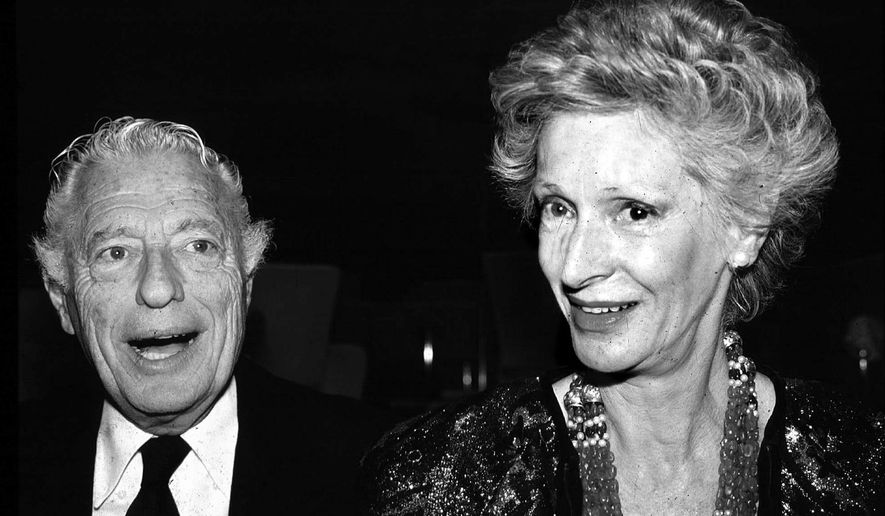 FILE - Giovanni Agnelli and his wife Marella Caracciolo are shown in this 1988 file photo. Italian state TV and news agency ANSA say Marella Agnelli, widow of Fiat tycoon Gianni Agnelli and a 20th-century symbol of elegant beauty and culture in Italy, has died at her family home in Turin, in the northern Piedmont region, at age 91.  (AP Photo/Alberto Ramella, File)