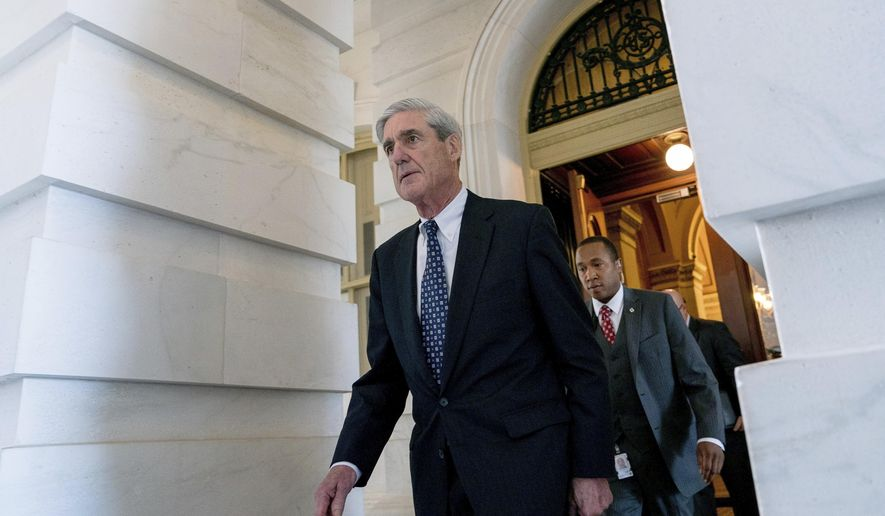 In this June 21, 2017, photo, former FBI Director Robert Mueller, the special counsel probing Russian interference in the 2016 election, departs Capitol Hill following a closed-door meeting in Washington. (Associated Press) **FILE**