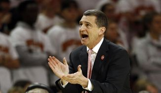Maryland head coach Mark Turgeon watches the second half of an NCAA college basketball game against Ohio State, Saturday, Feb. 23, 2019, in College Park, Md. (AP Photo/Patrick Semansky) ** FILE **
