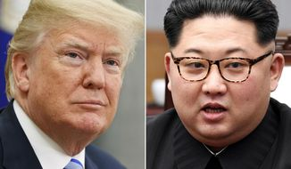 FILE- In this combination of file photos, U.S. President Donald Trump, left, in the Oval Office of the White House in Washington on May 16, 2018, and North Korean leader Kim Jong Un in a meeting with South Korean leader Moon Jae-in in Panmunjom, South Korea, on April 27, 2018. For some observers, the nightmare result of the second summit between Trump and Kim is an ill-considered deal that allows North Korea to get everything it wants while giving up very little, even as the mercurial leaders trumpet a blockbuster nuclear success. (AP Photo/Evan Vucci, Korea Summit Press Pool via AP, File)