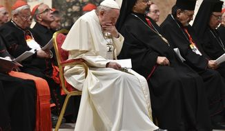 Pope Francis attends a penitential liturgy at the Vatican, Saturday, Feb. 23, 2019. The pontiff is hosting a four-day summit on preventing clergy sexual abuse, a high-stakes meeting designed to impress on Catholic bishops around the world that the problem is global and that there are consequences if they cover it up (Vincenzo Pinto/Pool Photo Via AP)