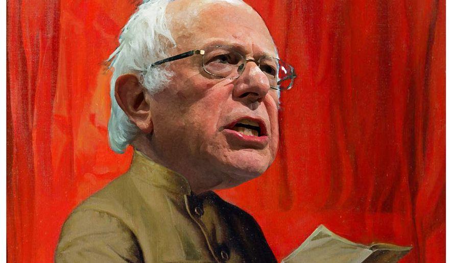 Illustration on Bernie Sanders' communism by Alexander Hunter/The Washington Times
