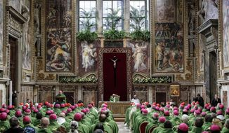 Pope Francis celebrates Mass at the Vatican, Sunday, Feb. 24, 2019. Pope Francis celebrated a final Mass to conclude his extraordinary summit of Catholic leaders summoned to Rome for a tutorial on preventing clergy sexual abuse and protecting children from predator priests. The Mass was celebrated Sunday in the Sala Regia, one of the grand, frescoed reception rooms of the Apostolic Palace. (Giuseppe Lami/Pool Photo via AP)