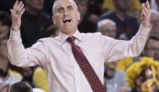 Arizona State head coach Bobby Hurley reacts as his team loses its lead to California during the first half of an NCAA college basketball game Sunday, Feb. 24, 2019, in Tempe, Ariz. (AP Photo/Darryl Webb)