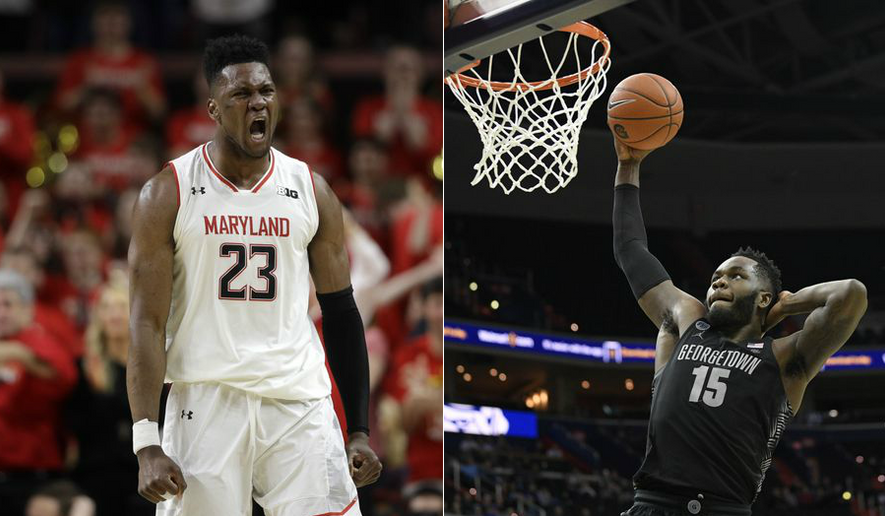 This combination of file photos shows Maryland center Bruno Fernando (left) and Georgetown center Jessie Govan, two of the 10 finalists for the Kareem Abdul-Jabbar Award for the best center in Division I basketball. (AP photos / Patrick Semansky and Nick Wass)