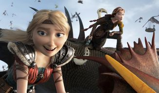 """This image released by Universal Pictures shows characters Astrid, voiced by America Ferrera, left, and Valka, voiced by Cate Blanchett, in a scene from DreamWorks Animation's """"How to Train Your Dragon: The Hidden World."""" (DreamWorks Animation/Universal Pictures via AP)"""