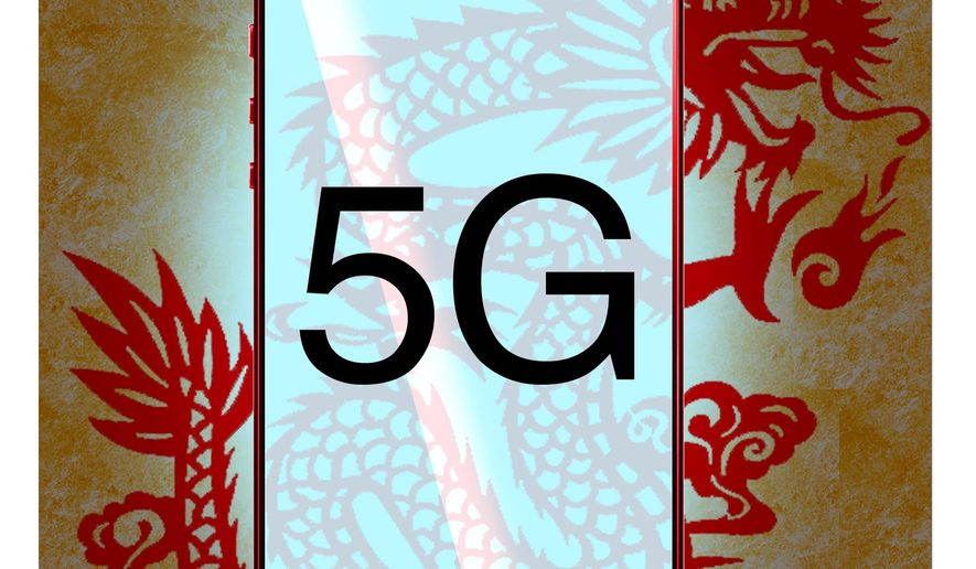 Illustration on the commercia threat of Chinese hegemony in 5G technology by Alexander Hunter/The Washington Times