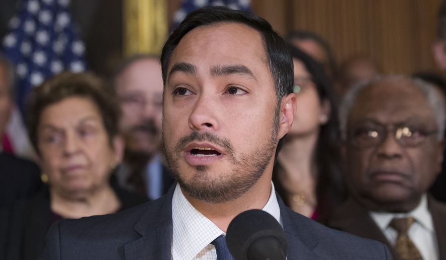 Rep. Joaquin Castro, D-Texas, speaks on Capitol Hill, Monday, Feb. 25, 2019, in Washington. (AP Photo/Alex Brandon) ** FILE **