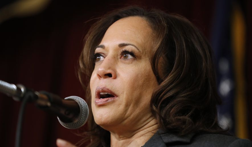In this Feb. 23, 2019, photo, Democratic presidential candidate Sen. Kamala Harris speaks at the Story County Democrats' annual soup supper fundraiser in Ames, Iowa. (AP Photo/Charlie Neibergall)