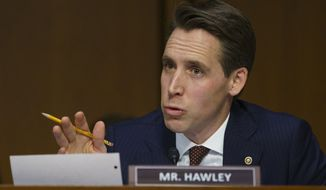 In this Jan 15, 2019 file photo, Senate Judiciary Committee committee member Sen. Josh Hawley, R-Mo., questions Attorney General nominee William Barr during a Senate Judiciary Committee on Capitol Hill in Washington. Hawley has expressed skepticism about the judicial philosophy of Neomi Rao, a nominee to fill the D.C. Circuit Court of Appeals seat opened when Brett Kavanaugh was confirmed to the U.S. Supreme Court. (AP Photo/Carolyn Kaster, File) **FILE**