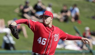 Washington Nationals' Patrick Corbin (46) pitches in the first inning against the Atlanta Braves in a spring baseball exhibition game, Monday, Feb. 25, 2019, in Kissimmee, Fla. (AP Photo/John Raoux) **FILE**
