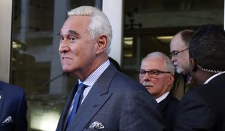 In this Feb. 21, 2019, photo, former campaign adviser for President Donald Trump, Roger Stone, leaves federal court in Washington. (AP Photo/Jacquelyn Martin) ** FILE **
