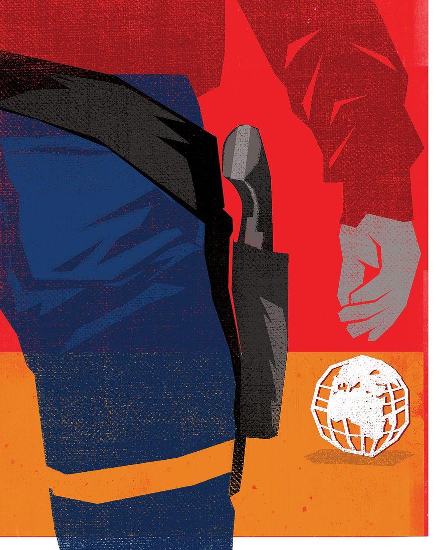 Illustration on America as world sheriff by Linas Garsys/The Washington Times