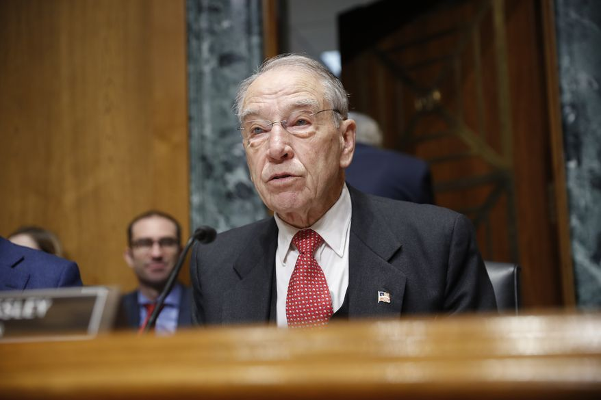 Sen. Chuck Grassley, R-Iowa, chairman of the Senate Finance Committee, talks during a hearing with drug company CEOs on drug prices, Tuesday, Feb. 26, 2019 on Capitol Hill in Washington. (AP Photo/Pablo Martinez Monsivais)