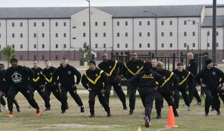 In this photo taken Tuesday, Jan. 8, 2019, U.S Army troops training to serve as instructors participate in the new Army combat fitness test at the 108th Air Defense Artillery Brigade compound at Fort Bragg, N.C. The Army National Guard is looking for nearly 5,000 fitness instructors and buying roughly $40 million in workout equipment in the next seven months to help its soldiers meet new physical fitness standards being set by the military service. (AP Photo/Gerry Broome)