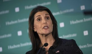 In this Dec. 3, 2018, file photo, Nikki Haley speaks during the Hudson Institute's 2018 Award Gala in New York.   (AP Photo/Kevin Hagen, File) ** FILE **
